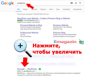 Поиск WordPress в Google