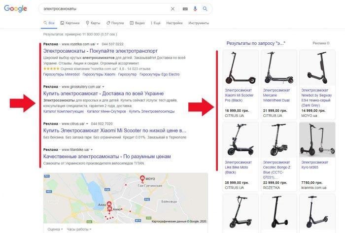 Показ рекламы товара в результатах поиска Google