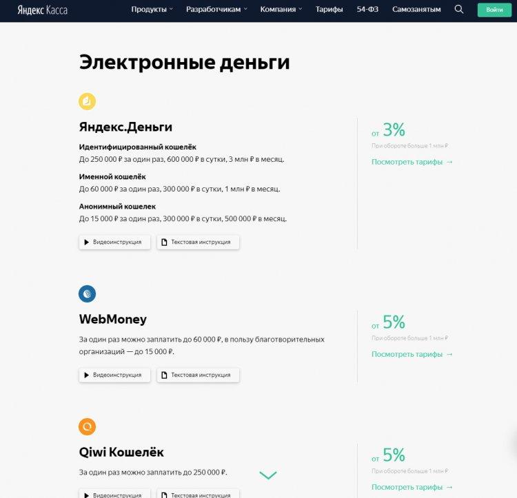 Платежная система Yandex - страница для Интернет-магазинов
