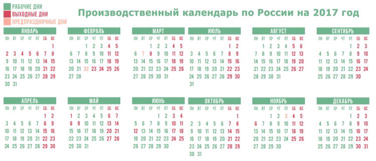 Календарь праздников по России за 2017 год
