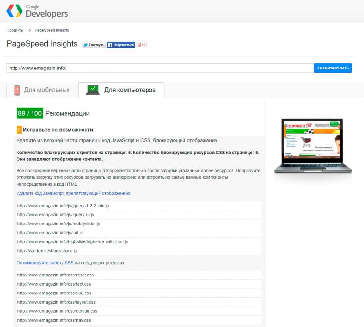 Результаты проверки Google PageSpeed