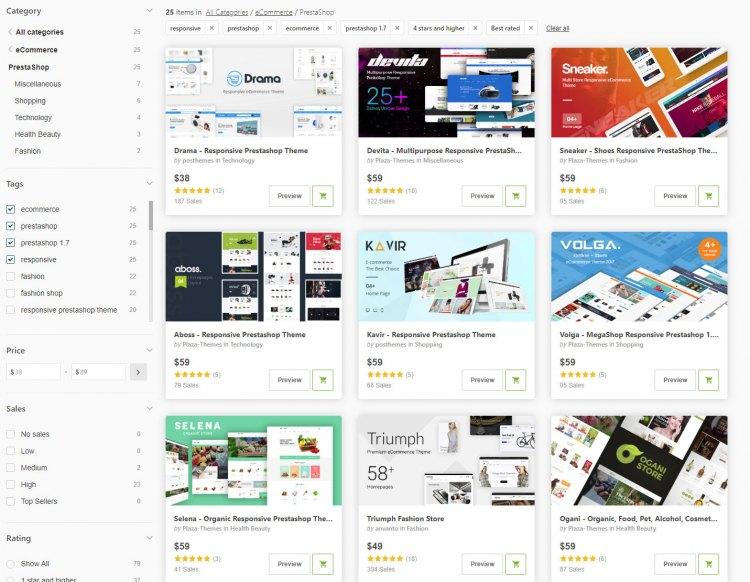 Каталог готовых шаблонов дизайна для Интернет-магазинов
