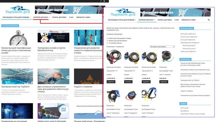 Готовый Интернет-магазин по продаже товаров для плавания