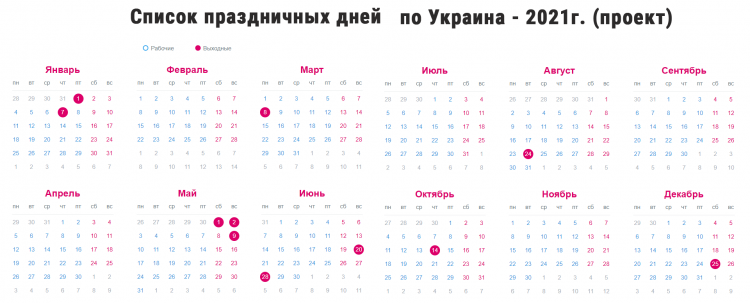 Список праздничных дней по Украине на 2021 год