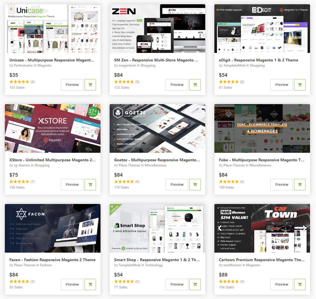 Готовые дизайн шаблоны Интернет-магазинов для платформы Magento