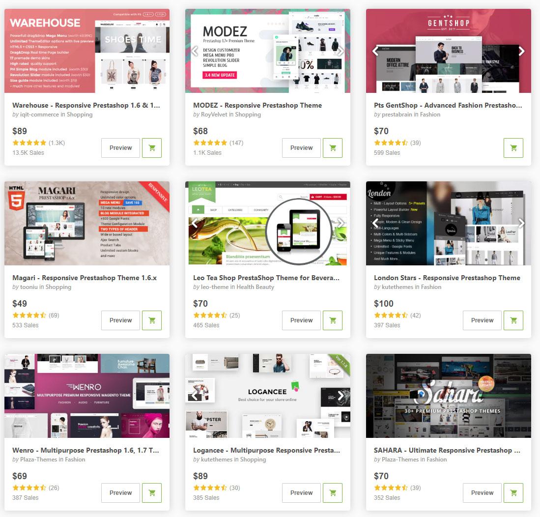 Готовые дизайн шаблоны Интернет-магазинов для платформы PrestaShop