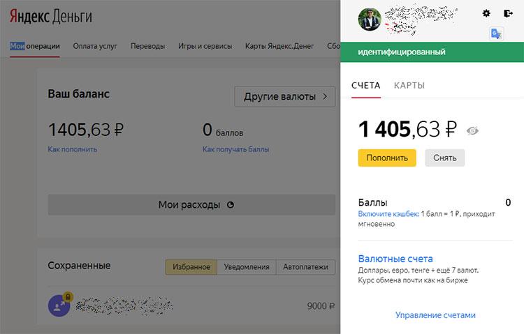 Пример кошелька Яндекс деньги